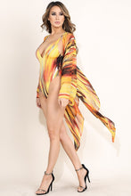 "Load image into Gallery viewer, ""Mrs. Parker"" Jersey Swimsuit & Mesh Kimono Set - Yellow"