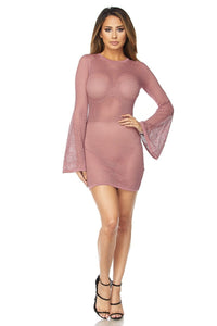 """Pamela"" Fishnet Bell Sleeve Dress"
