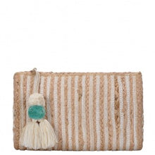 "Load image into Gallery viewer, ""Amara"" Jute Tassel Striped Clutch - White"