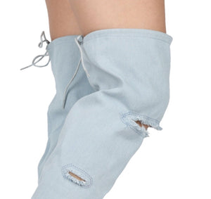 """Demi"" Denim Thigh Peep Toe Boots"