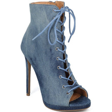 "Load image into Gallery viewer, ""Draya"" Lace-Up Stain Washed Denim Peep Toe Booties"