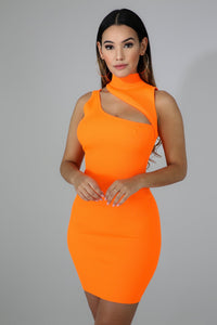 """Cori"" Neon Slashed Knit Mini Bodycon Dress"
