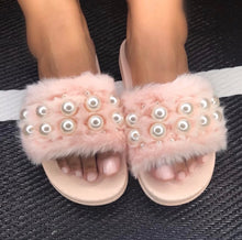 "Load image into Gallery viewer, ""Pearl"" Faux Fur Slides - Pink"