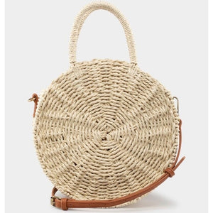 """Emily"" Straw Round Medium Satchel Bag"