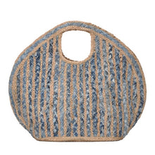 "Load image into Gallery viewer, ""India"" Straw & Denim Blue Woven Tote Bag"