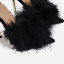 "Load image into Gallery viewer, ""Carmen"" Sexy Feathered Mules Heels - Black"