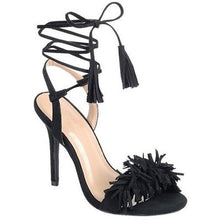 "Load image into Gallery viewer, ""Tina"" Ankle Wrap Tassel Fringe Heels"