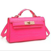 "Load image into Gallery viewer, ""Georgina"" Croc Mini Birkin Style Bag - Neon Pink"