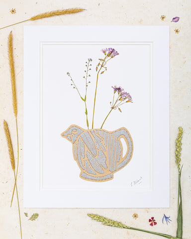 Bird teapot embroidery with pressed flowers