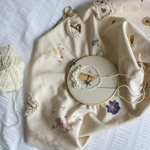 Embroidery hoop with embroidery in progress