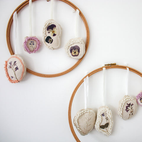 Embroidery hoops with embroidery decorations
