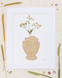 Creamy Clay Vase Of Pressed Cow Parsley
