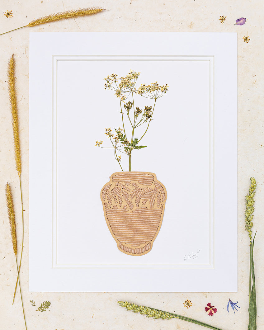 Pressed Cow Parsley In A Decorative Vase