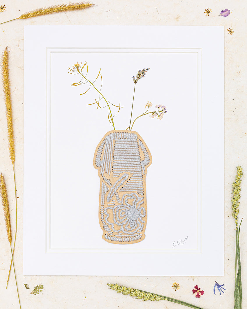 Ceramic Vase Of Dainty Wildflowers Embroidery