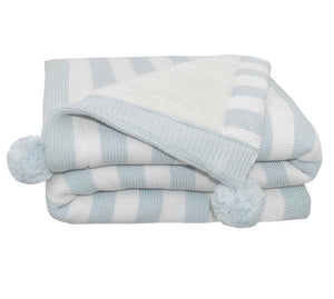 Luxe Pompom Blanket- Dusty Blue
