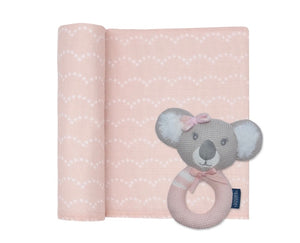 Chloe koala muslin swaddle and rattle