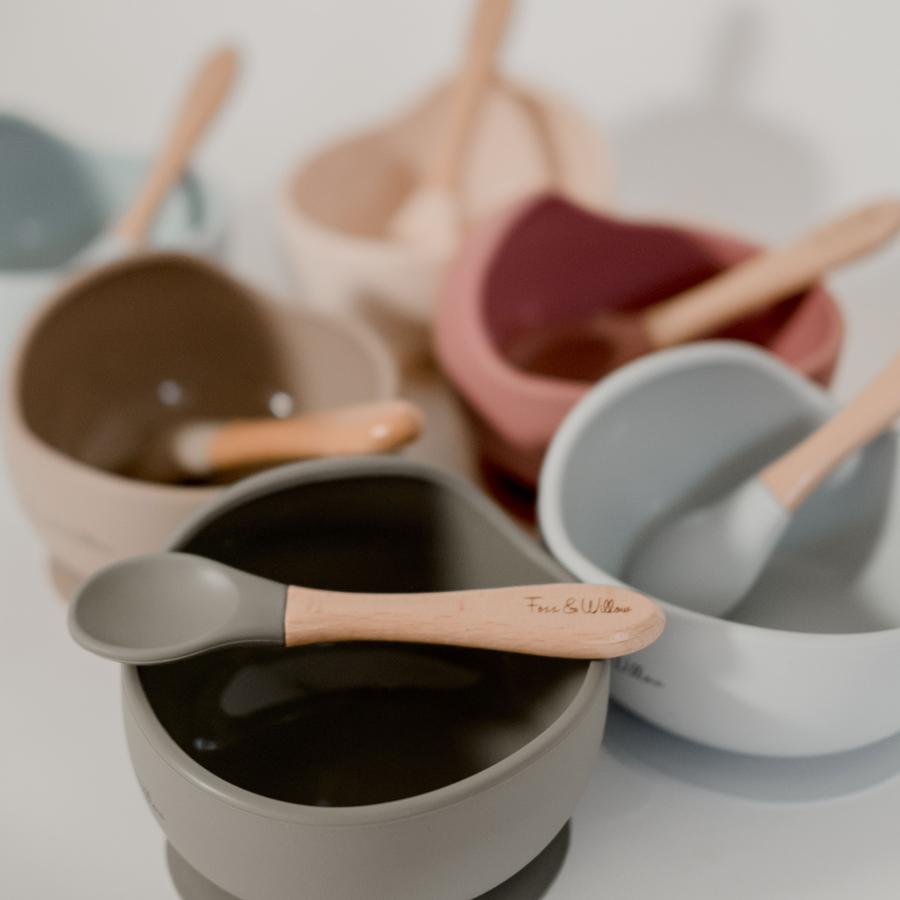 Silicone Bowl + Spoon Set || DUSTY SAGE