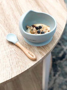 Silicone Bowl + Spoon Set || DUSTY BLUE