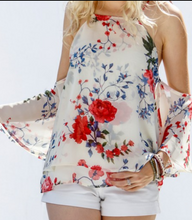 Load image into Gallery viewer, Floral Chiffon Low Sleeve Cold Shoulder Top - Made in USA