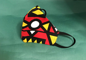 Afribera RED AND BLACK MAHLANGU PRINT MASK