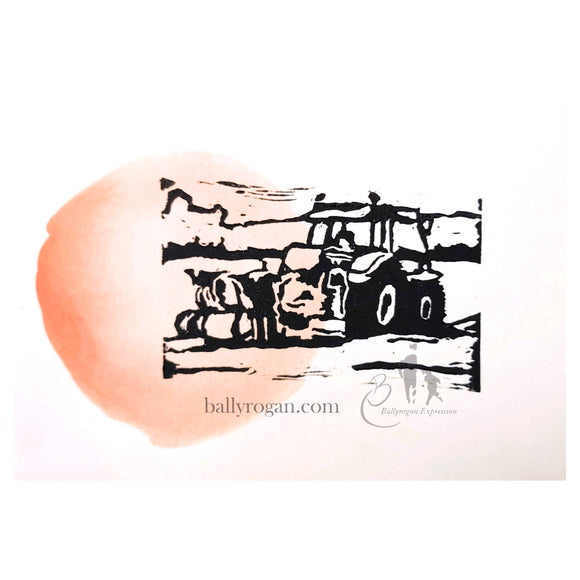 Plough Red Sun by Sarah Eva Manson Linocut Print on Watercolour 18 x 13cm Tractor in Ireland