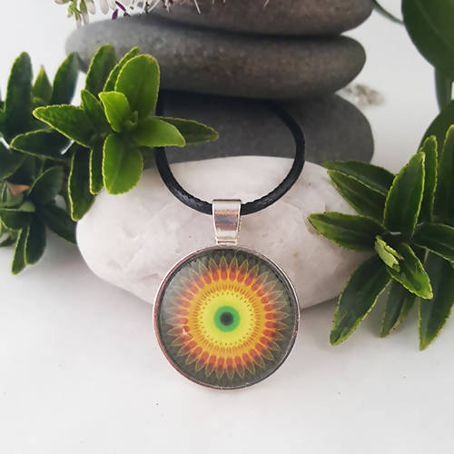 Yellow And Red Cosmic Mandala Pendant - The Biscuit Marketplace