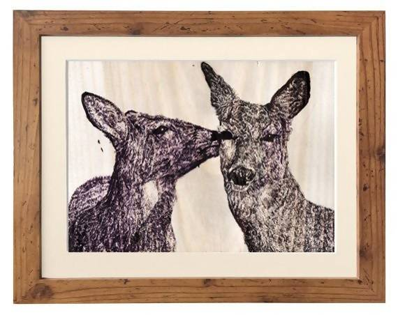 Deer Illustration on Wood Paper - Print - The Biscuit Marketplace