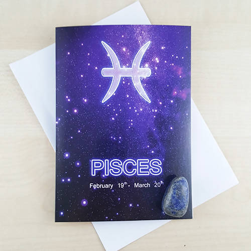 Pisces Star Sign Birthday Gift Card With Lapis Lazuli Crystal