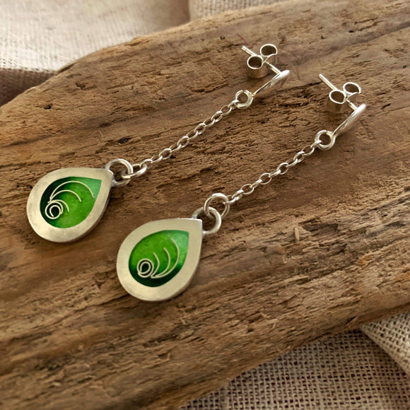 Handmade silver cloisonne green earrings - The Biscuit Marketplace