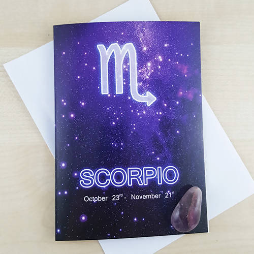 Scorpio Horoscope Birthday Gift Card With Amethyst Crystal - The Biscuit Marketplace