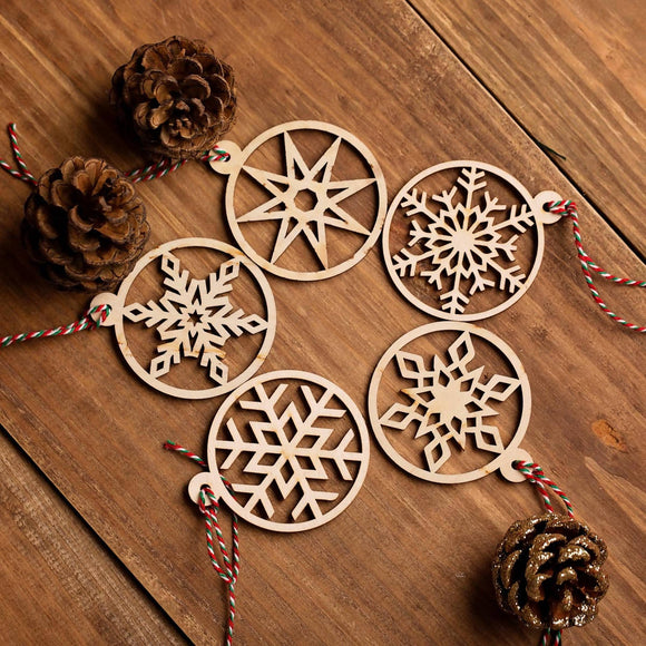 Wooden Snowflake Decorations - The Biscuit Marketplace