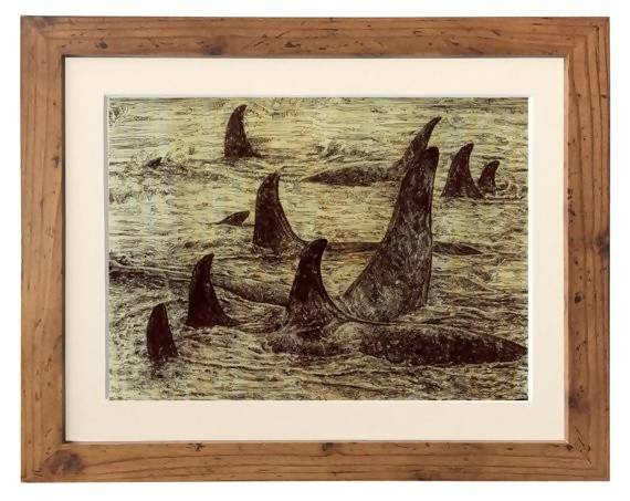 Pod of Killer Whales on Wood Paper - Illustration Print