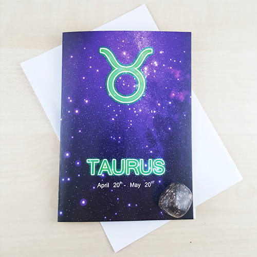 Taurus Astrology Birthday Gift Card With Rhodonite Birth Stone