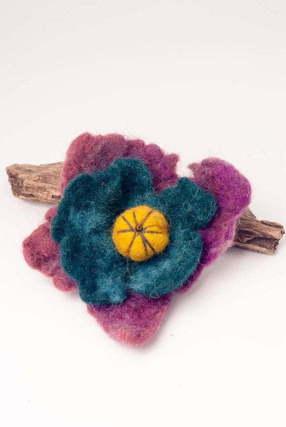 Felt Brooch Teal and Pink - The Biscuit Marketplace