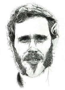 Irish singer / songwriter James Vincent McMorrow portrait in pen - Illustration print - The Biscuit Marketplace