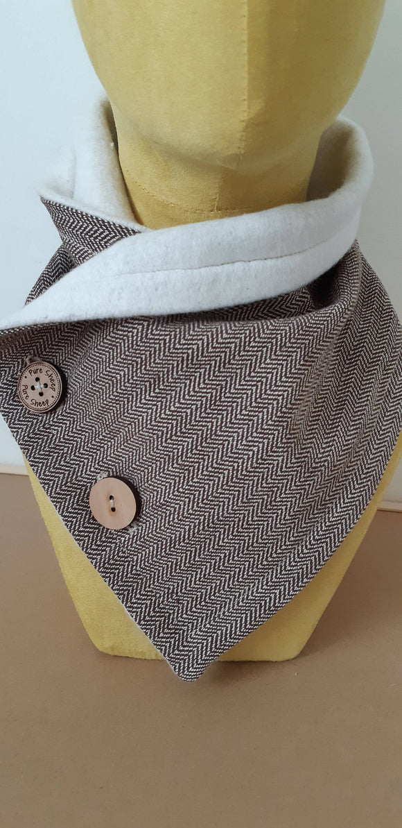 Cozy Collar Organic Cotton Scarf Deep Brown - The Biscuit Marketplace