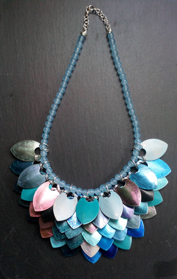 Mermaid for a day, sky blue Topaz scale mail necklace - The Biscuit Marketplace