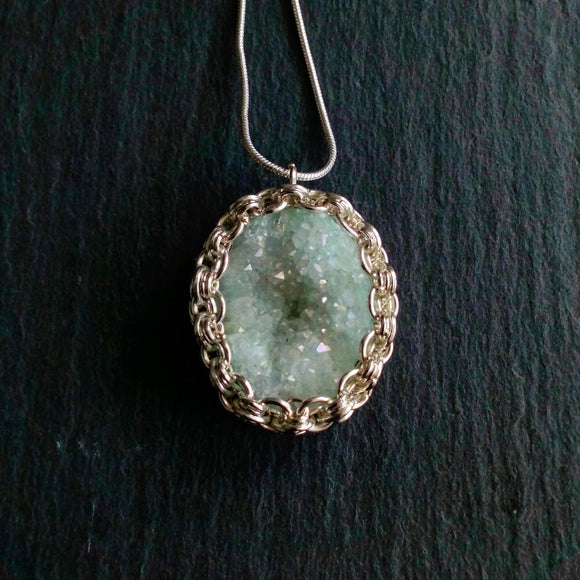 Silver set aqua druzy quartz pendant. - The Biscuit Marketplace