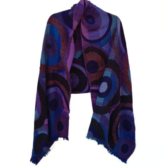 Cobalt Kandinsky Merino Wool Shawl - The Biscuit Marketplace