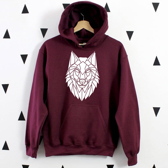Graphic Wolf Hoodie, Geometric Animal - The Biscuit Marketplace