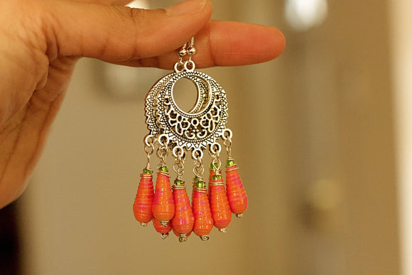 Boho Fringe - Paper Bead Earrings