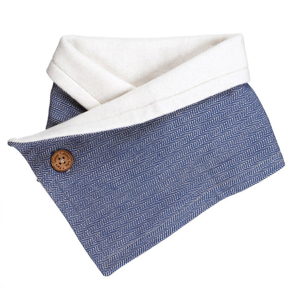 Cozy Collar Organic Cotton Scarf Navy Blue - The Biscuit Marketplace