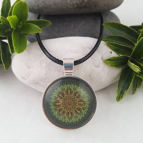 Green And Brown Handmade Sacred Geometry Boho Pendant - The Biscuit Marketplace