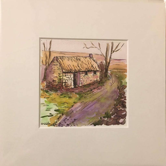 Homestead- Watercolour and Indian ink - The Biscuit Marketplace