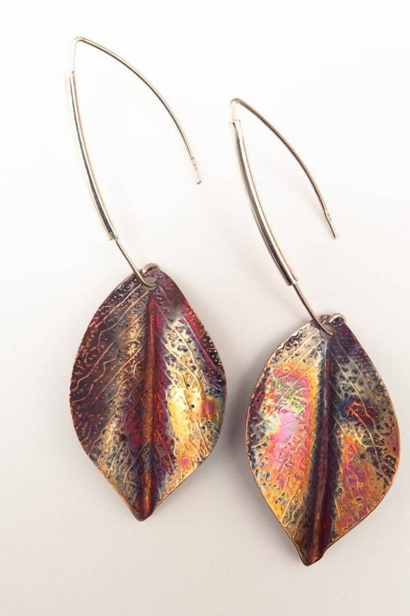Flame Copper Leaf Earrings - The Biscuit Marketplace