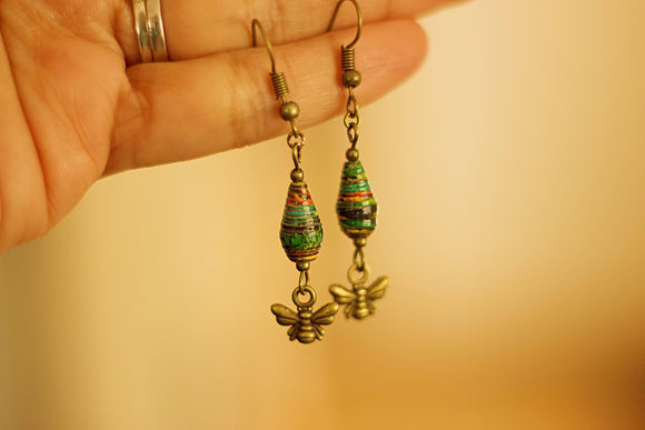 Drops Collection - Paper Bead Earrings (Antique Bronze) - The Biscuit Marketplace
