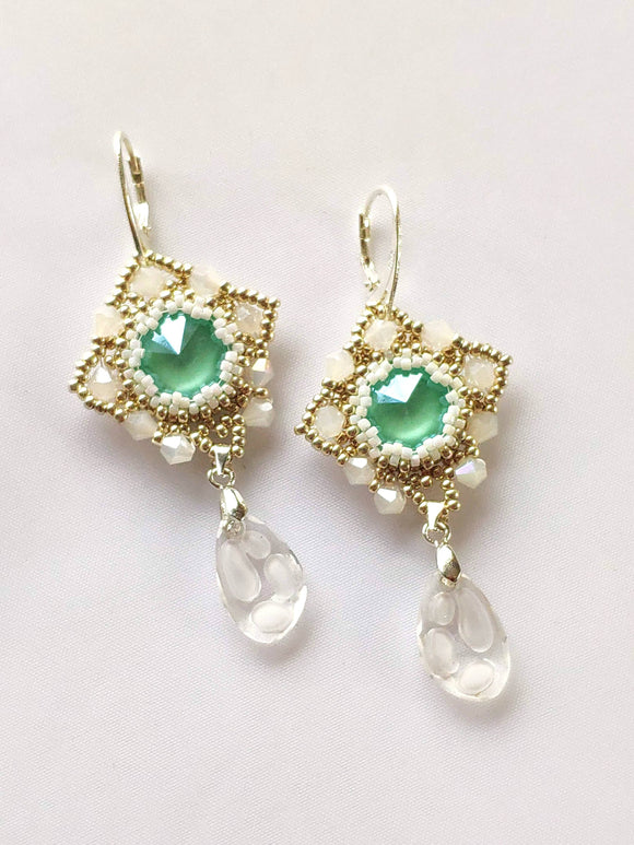 Spring Green Swarovski Crystal Element Earrings - The Biscuit Marketplace