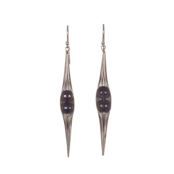 Black Pearl Seedpod Earrings - The Biscuit Marketplace