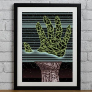 Futuristic 1980s Wireframe Split Hand - Illustration Print - The Biscuit Marketplace