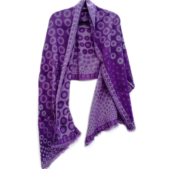 Lilac Kandinsky Merino Wool Shawl - The Biscuit Marketplace